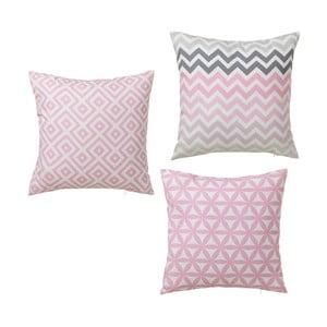 Sada 3 růžových polštářů Unimasa Americano, 45 x 45