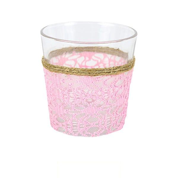 Skleněný svícen s ozdobnou textilií Pink