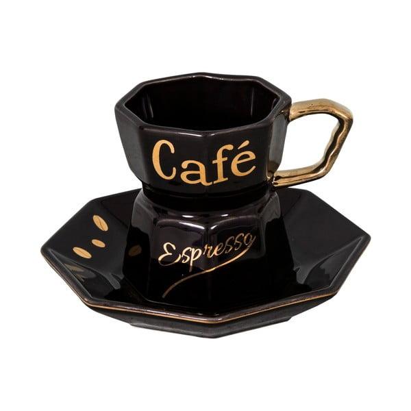 Fekete homokkő csésze csészealjjal - Antic Line