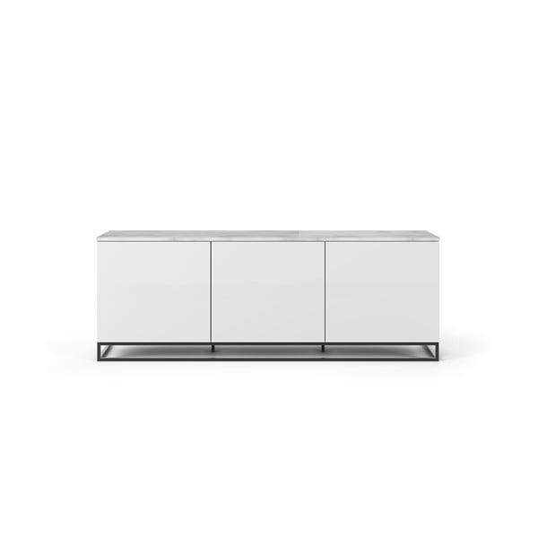 Join fehér TV állvány fehér fedlappal és fekete lábakkal, 180 x 65 cm - TemaHome