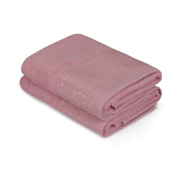 Sada 2 růžových bavlněných ručníků z čisté bavlny Grande, 50 x 90 cm