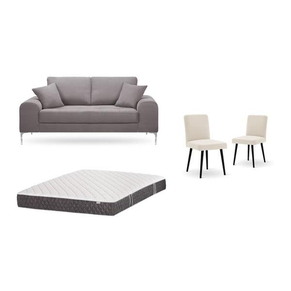 Set canapea maro, 2 scaune crem, o saltea 140 x 200 cm Home Essentials