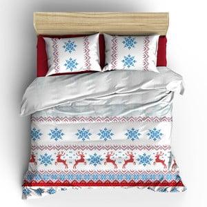 Lenjerie de pat cu cearșaf din bumbac White Christmas, 200 x 220 cm