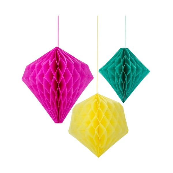 Papírové dekorace Honeycomb Fiesta, 3 kusy