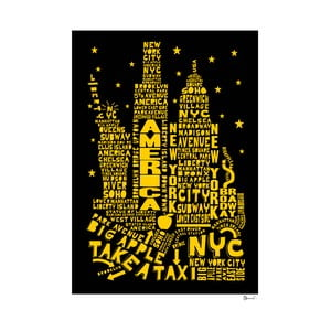 Plakát New York Black&Yellow, 50x70 cm
