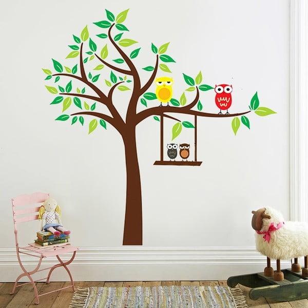 Samolepka na stěnu Barevné sovičky, 60x90 cm