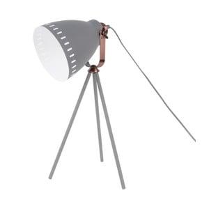 Šedá stolní lampa s detaily v měděné barvě Leitmotiv Mingle