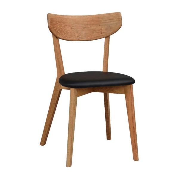 Brązowe dębowe krzesło do jadalni z czarnym siedziskiem Rowico Ami
