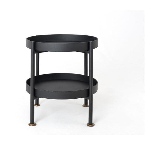 Hanna fekete többszintes tárolóasztal, ⌀ 40 cm - Custom Form