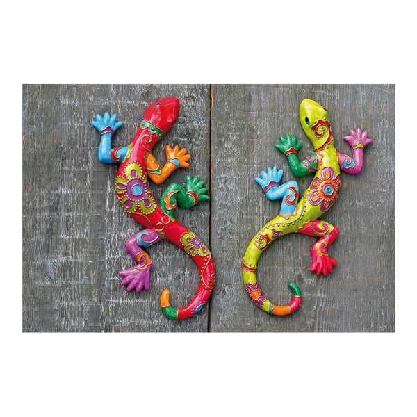 Sada 2 nástěnných dekorací Exotic Lizards