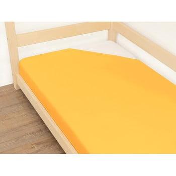 Cearșaf din bumbac Benlemi Jersey,90x180cm, portocaliu imagine