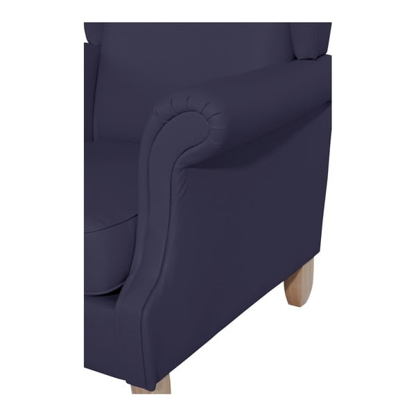 Tmavě modré křeslo ušák Max Winzer Verita Leather Dark Blue