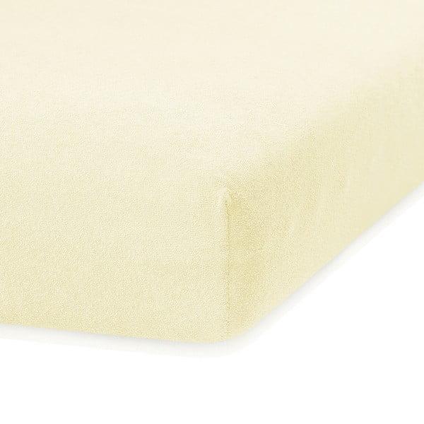 Světle žluté elastické prostěradlo s vysokým podílem bavlny AmeliaHome Ruby, 200 x 160-180 cm