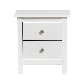 Noptieră cu 2 sertare din lemn masiv de pin Marckeric Berna, alb imagine