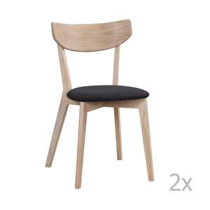 Set 2 scaune cu aspect de stejar lăcuit Folke Ami Deby