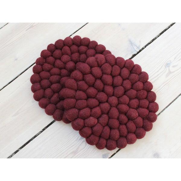 Tmavě višňový kuličkový podtácek z vlny Wooldot Ball Coaster, ⌀ 20 cm