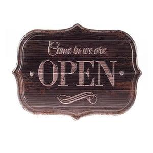 Kovová cedule Open, 34x25 cm