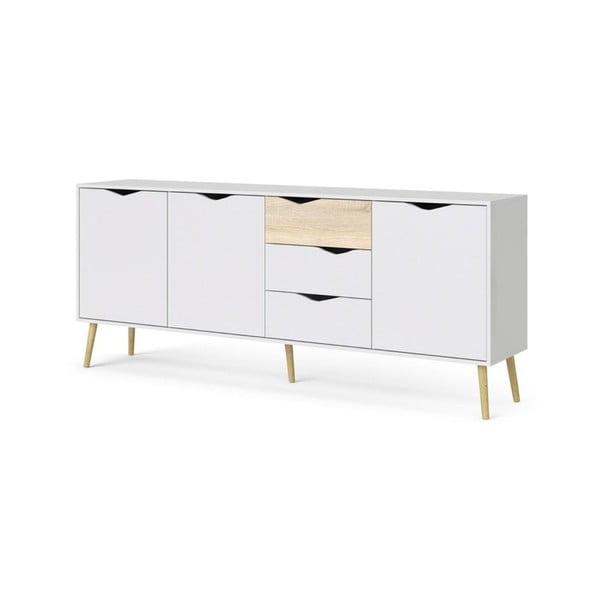Biała drewniana komoda Evergreen House Belief, 195x81 cm