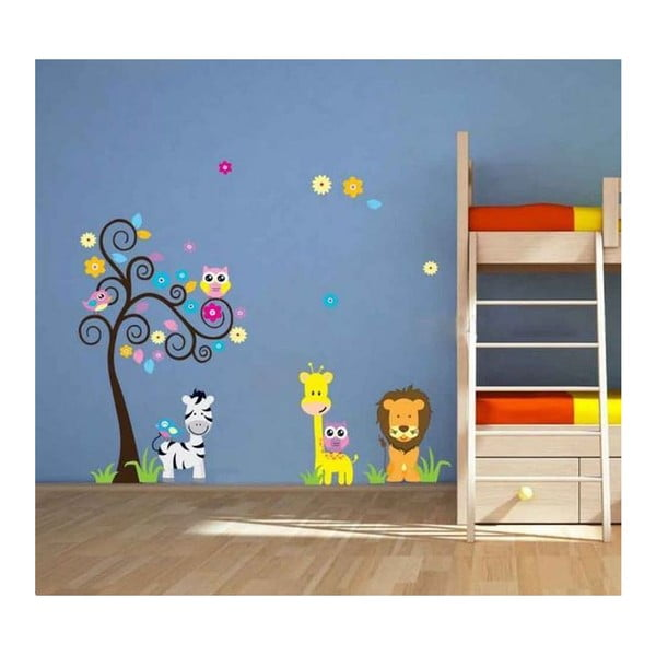 Samolepka na zeď Lev s žirafou