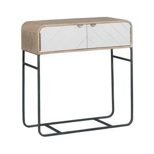 Světle šedý konzolový stolek s detailem z masivního mangového dřeva Woodjam Chevron