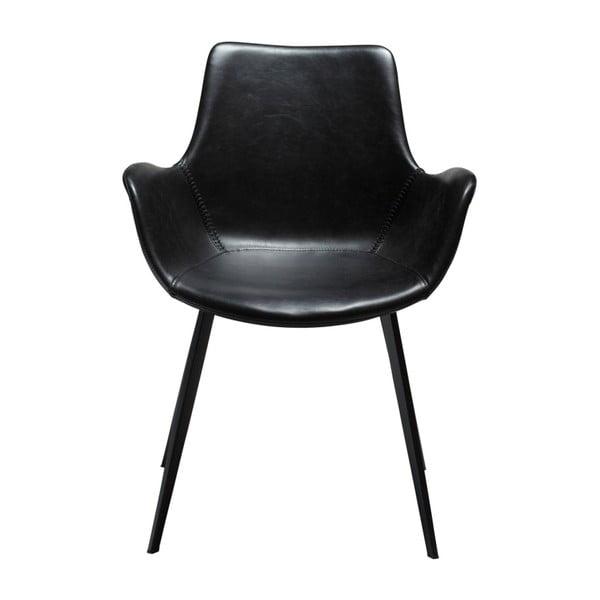 Černá koženková jídelní židle s područkami DAN-FORM Denmark Hype