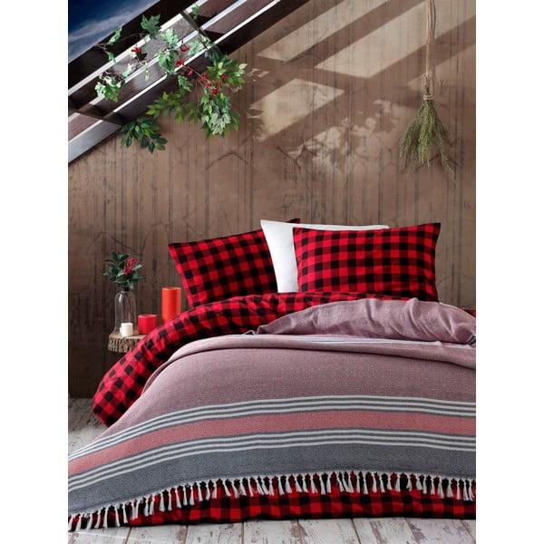 Galina Black Red White vörös ágytakaró, 220 x 240 cm