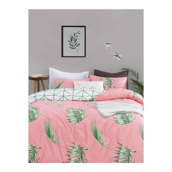 Lenjerie de pat cu cearșaf din bumbac ranforce, pentru pat dublu Mijolnir Barbara Green, 160 x 220 cm