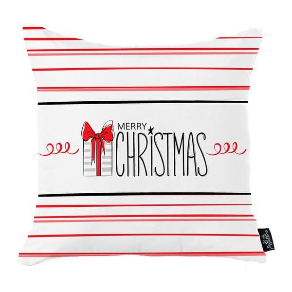 Biela vianočná obliečka na vankúš Apolena Honey Merry Christmas Gift, 45 x 45 cm