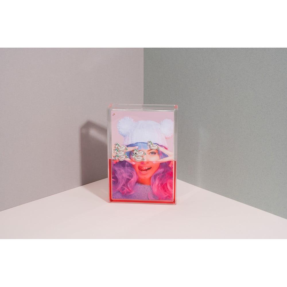 Růžový vodní fotorámeček DOIY Unicorn, 11 x 16 cm