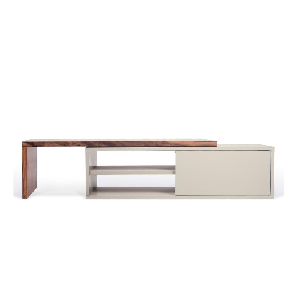 Šedý variabilní televizní stolek s ořechovou dýhou TemaHome Move TemaHome