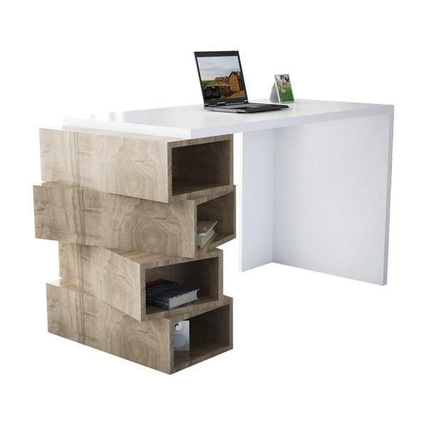 Birou în decor de lemn de nuc Jenga, alb