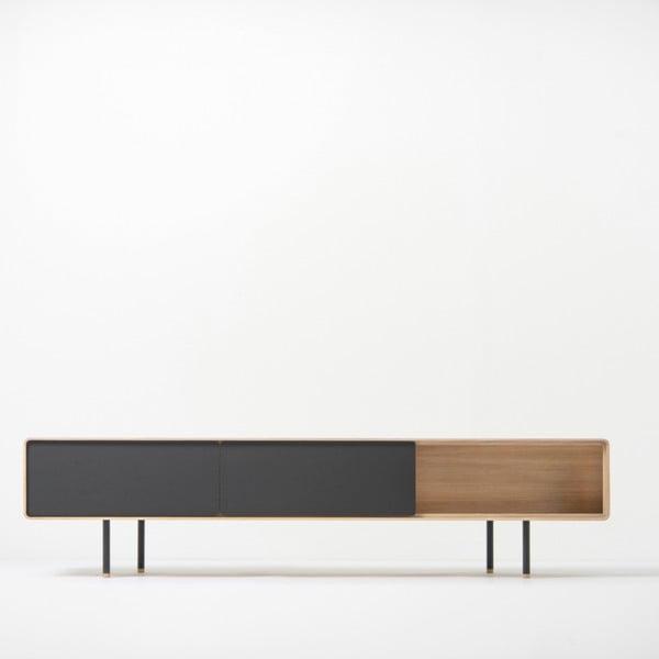 Fina alacsony tölgyfa TV-állvány 2 fekete fiókkal - Gazzda