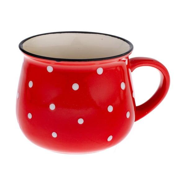 Czerwony kubek ceramiczny w kropki Dakls Premio
