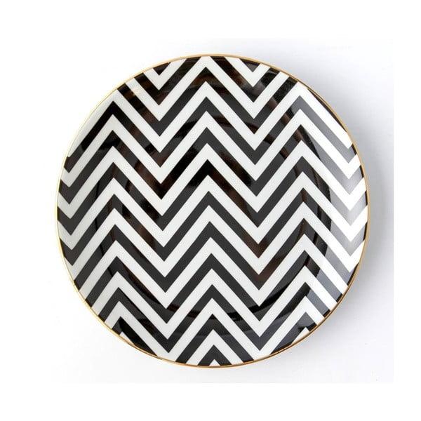 Černobílý porcelánový talíř Vivas Zigzag, Ø23cm