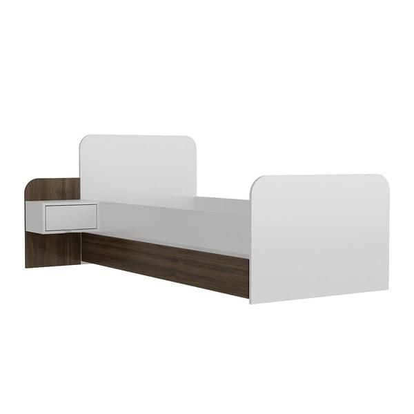 Yayu Walnut White egyszemélyes ágy, 65 x 201 cm