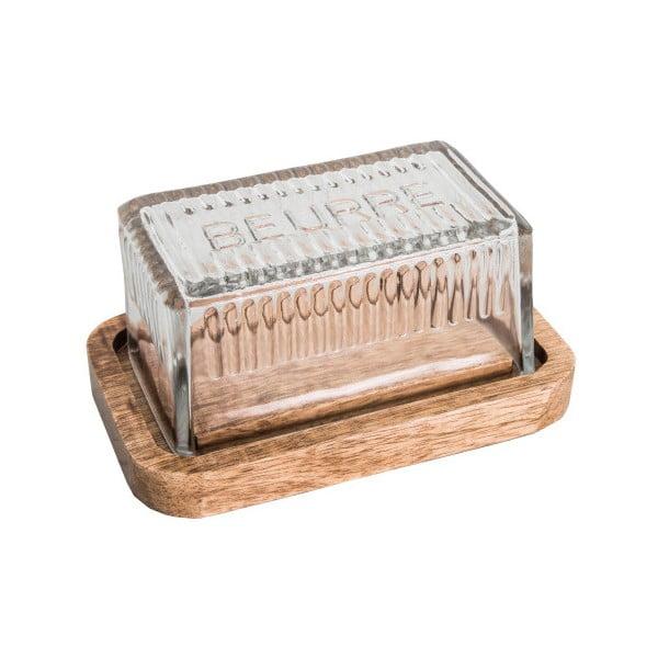 Máslenka s dřevěným podnosem a skleněným víkem Antic Line