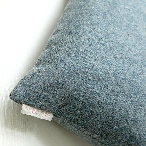 Vlněný polštář Tweed 40x40 cm, modrý