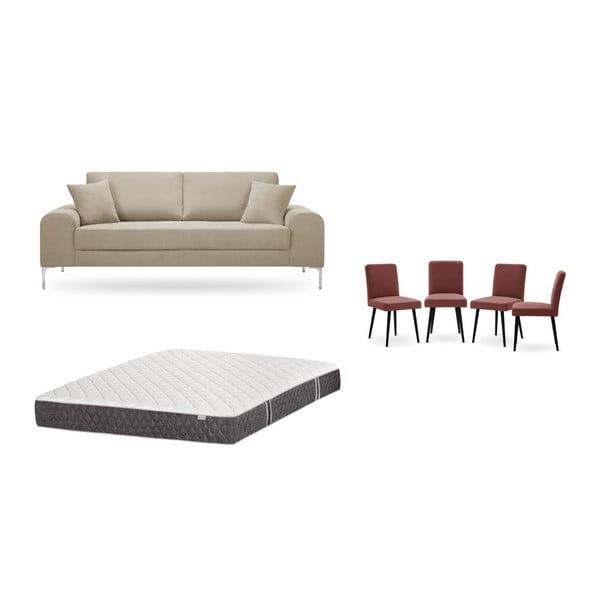 Set canapea gri cu 3 locuri, 4 scaune roșii, o saltea 160 x 200 cm Home Essentials