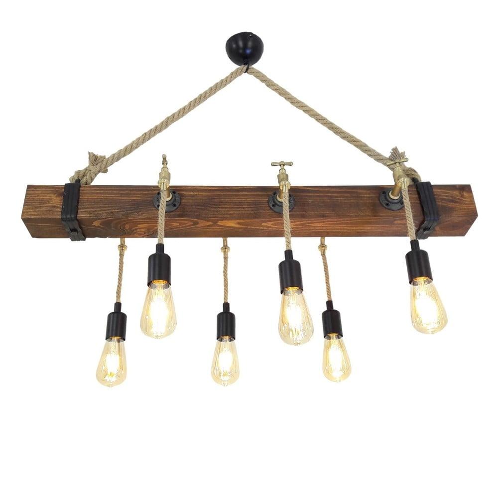 Dřevěné stropní závěsné svítidlo Kutuk, 6 žárovek
