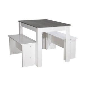 Set 2 bílých lavic a bílého jídelního stolu s černou deskou 13Casa Clark