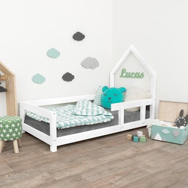 Białe drewniane łóżko dziecięce Benlemi Poppi, 90x160 cm