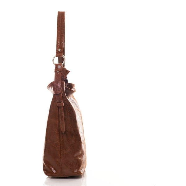 Kožená kabelka Federica Bassi Holo Brown