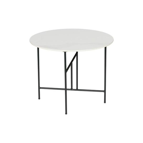 Bílý konferenční stůl s porcelánovou deskou WOOOD Vida, ⌀ 60 cm
