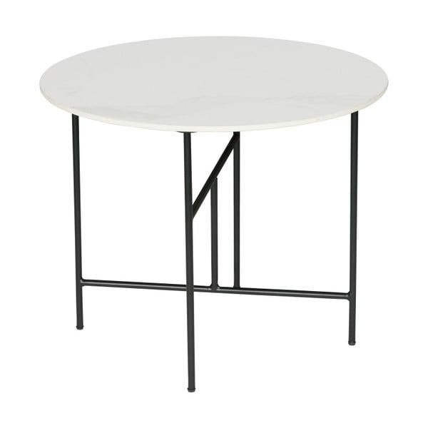 Vida fehér dohányzóasztal porcelán asztallappal, ⌀ 60 cm - WOOOD