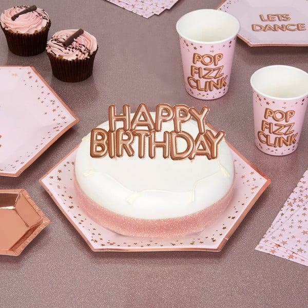 Ornament din hârtie pentru tort Neviti Glitz & Glamour Happy Birthday