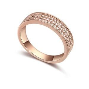 Prsten s krystaly Swarovski a růžovým zlatem Cubic, velikost 54