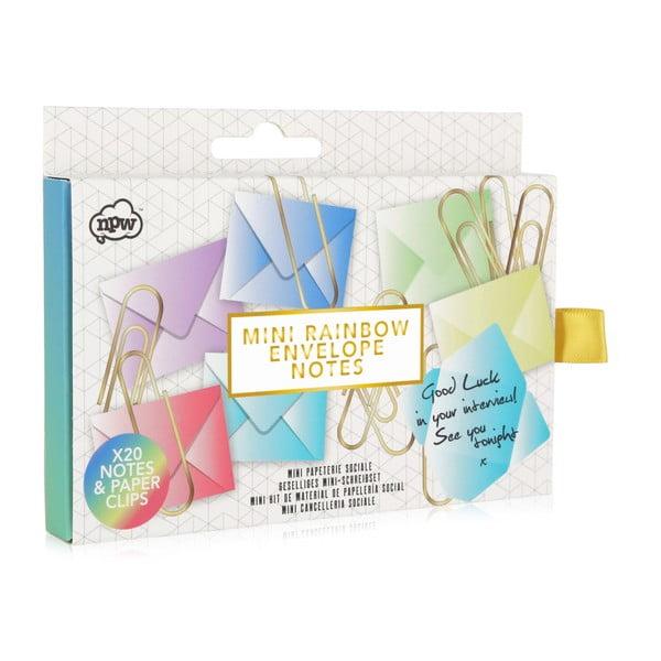 Sada 20 papírových obálek a 20 kancelářských sponek npw™ Rainbow