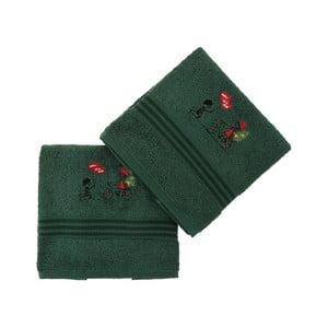 Sada 2 zelených bavlněných ručníků Bisiklet Green