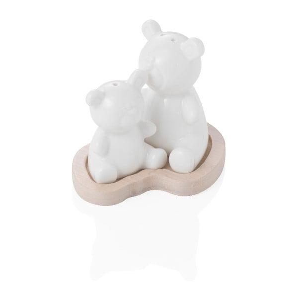 Bear fehér porcelán só- és borsszóró, bambusz tálon - Brandani