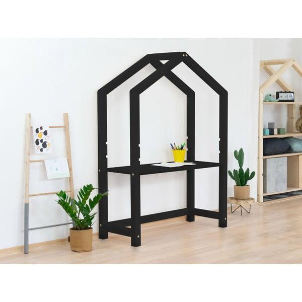 Čierny drevený stôl v tvare domčeka Benlemi Stoll, 39 x 97 x 133 cm